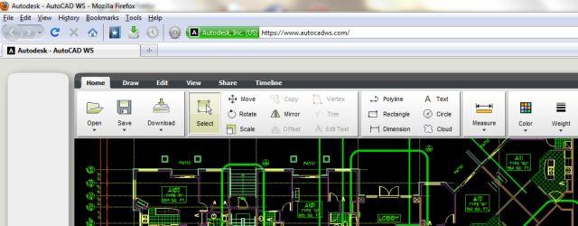 Za rad u AutoCAD-u WS dovoljan je internetski preglednik