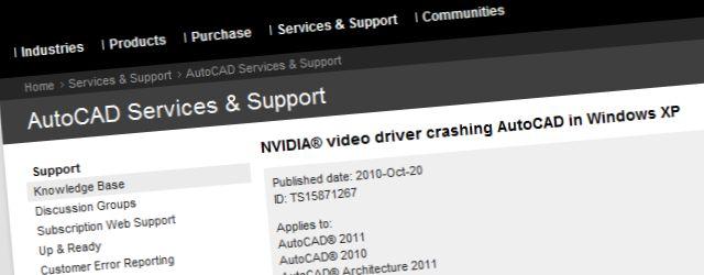 Zakrpa za rušenje Autodeskovih programa uzrokovano lošim NVIDIA upravljačkim programima