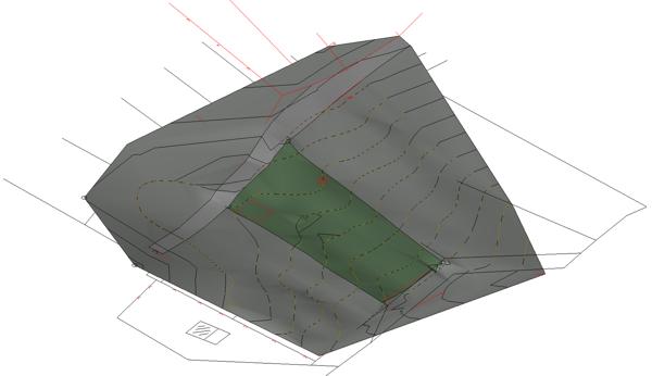 Revit, topografski model s vidljivim prilaznim putem i granicama parcele