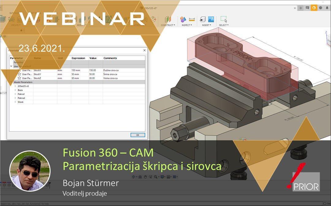 Fusion 360 CAM - Parametrizacija škripca i sirovca